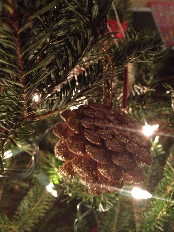Glitter pinecones.  From surprisingly good iphone shots.