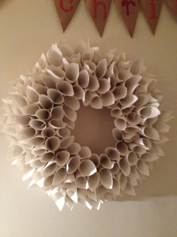 The wreath in all of its fluffy glory.  Made of political books from the dollar tree.